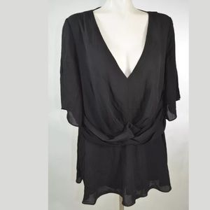 City Chic Plus Size Small 16 Solid Black Blouse